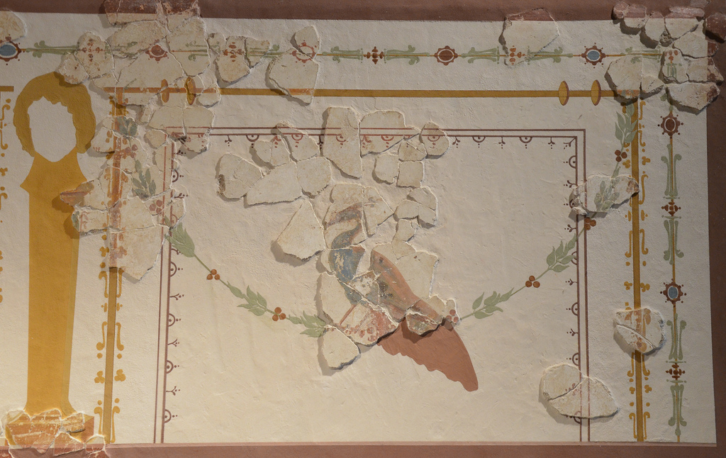 Reconstructed wall painting from fragments, it decorated the the most important room of a luxurious town house in Atuatuca Tungrorum. Gallo-Roman Museum of Tongeren, Belgium.