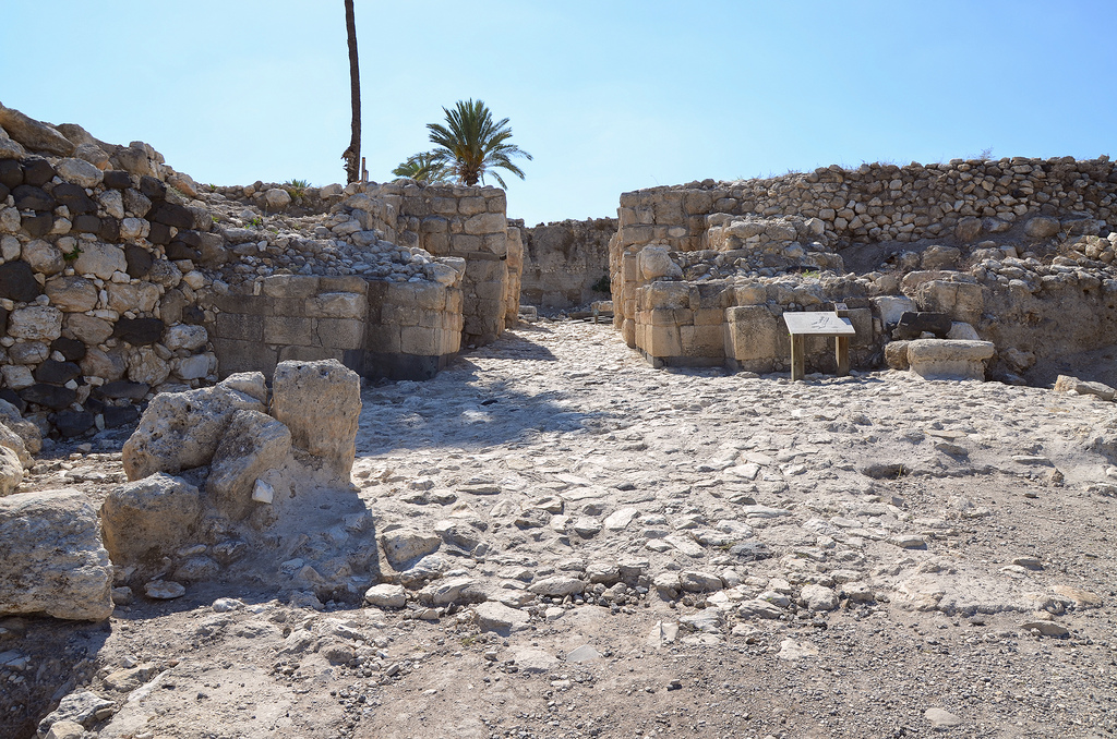 The Canaanite city gate dating to the Late Bronze Age period (1150-1150 BC), the gates were faced with ashlar block, some made of basalt.