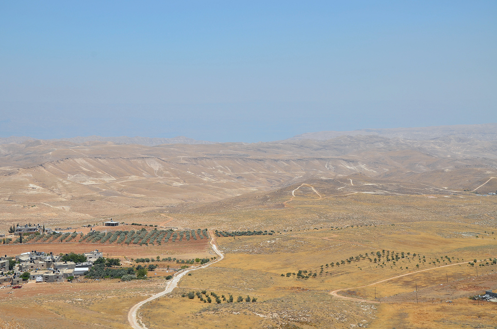 Panoramic view from the top of the hill towards the Judean desert and the Dead Sea.