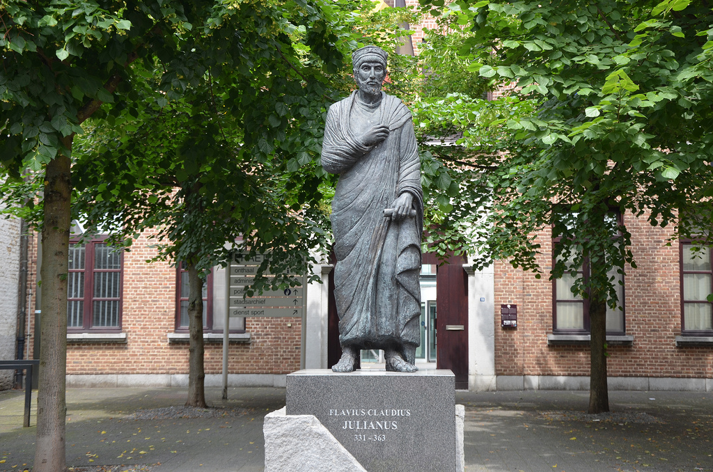 Modern statue of Flavius Claudius Julianus (Julian the Apostate) in Tongeren, Beligium.