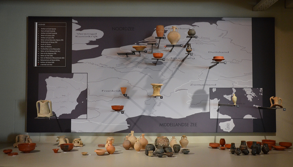 Earthenware from all over the Empire. Gallo-Roman Museum of Tongeren, Belgium.