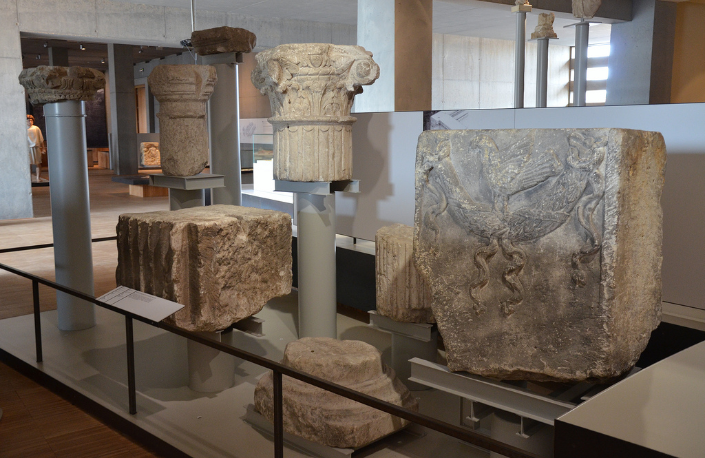 Fragments of architecture from monumental buildings of the Forum. Gallo-Roman Museum of Tongeren, Belgium.