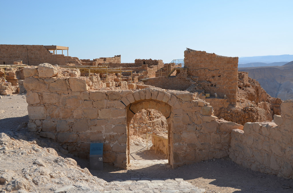The entrance to the Western Palace, the largest structure in Masada, covering 3,700 square metres.