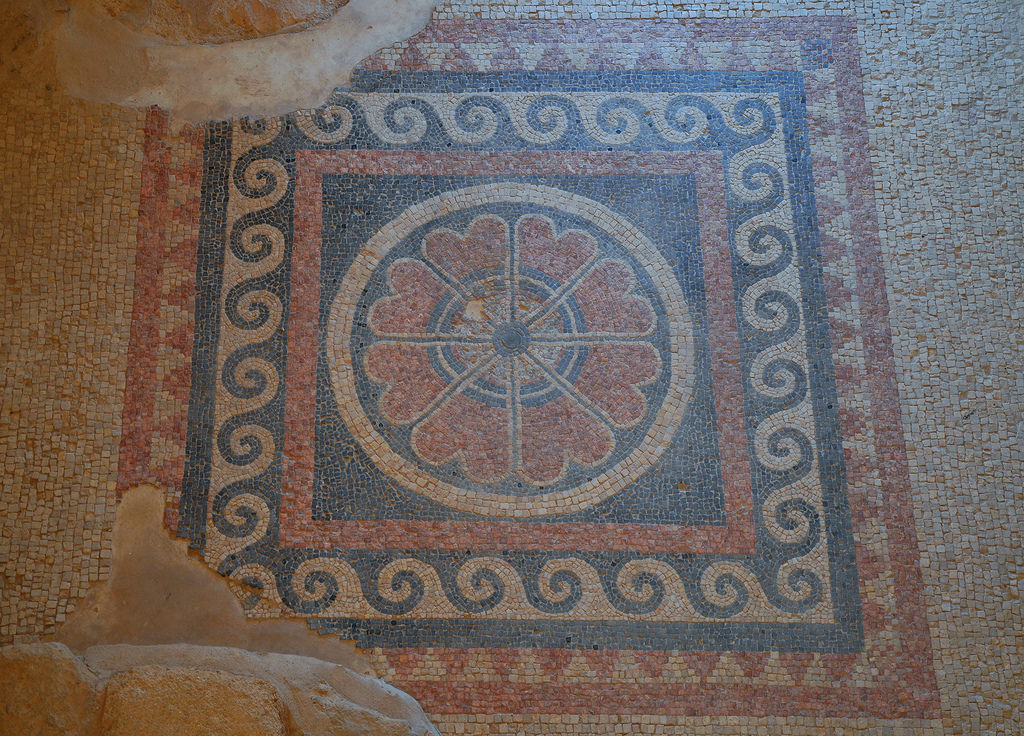 Mosaic floor with geometric patterns in the corridor leading to the bathhouse of the Western Palace.