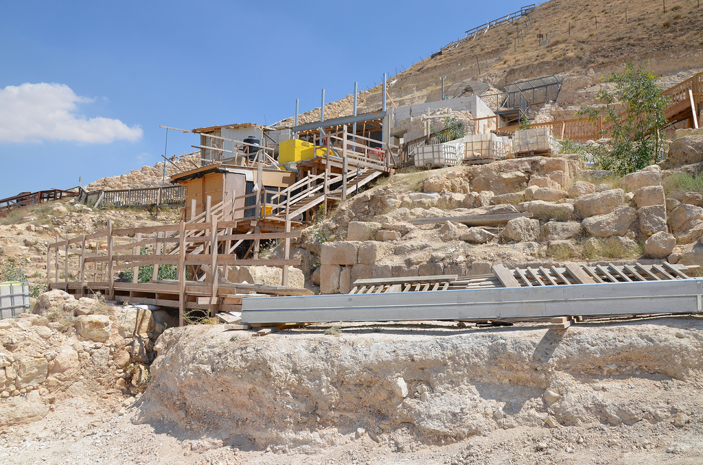 The royal theatre (under scaffolding in 2016), measuring about 12m in diametre with seating for about 400 located at the west of Herod's mausoleum. At the top was a private chamber for the King and his guests.