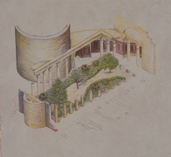 Reconstruction drawing of the of the palace courtyard surrounded by a roofed colonnade whose columns bore Corinthian capitals. Two large exedrae were built on both sides of the courtyard.