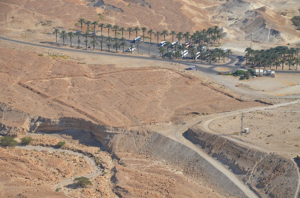 Remnants of Camp B, one of several legionary camps just outside the circumvallation wall around Masada seen from the hilltop.