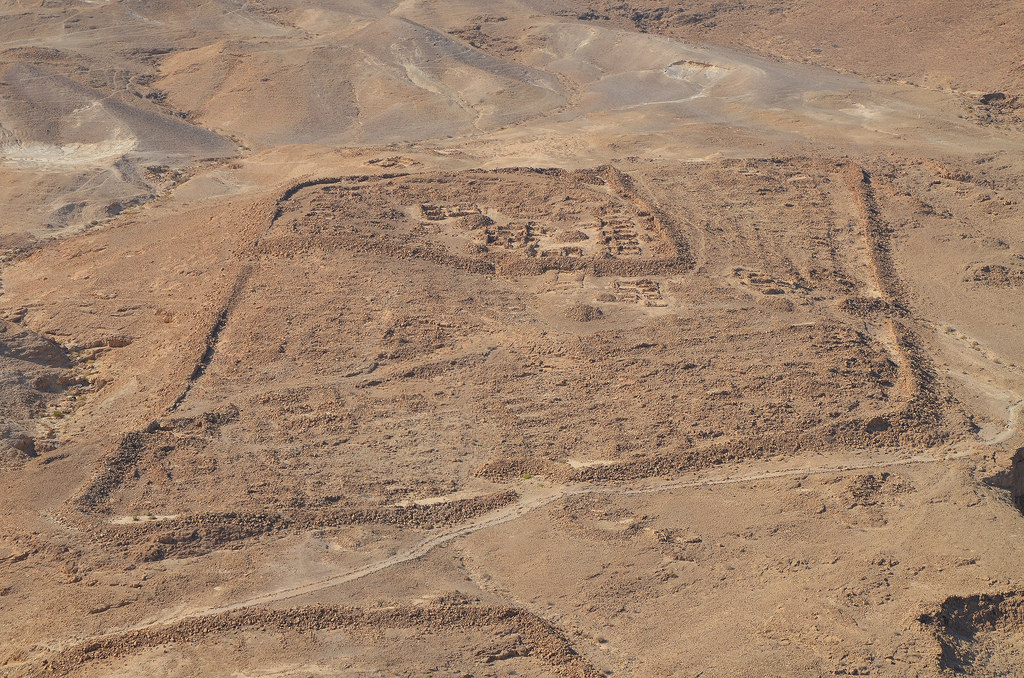 Remnants of Camp F, one of several legionary camps just outside the circumvallation wall around Masada seen from the hilltop.