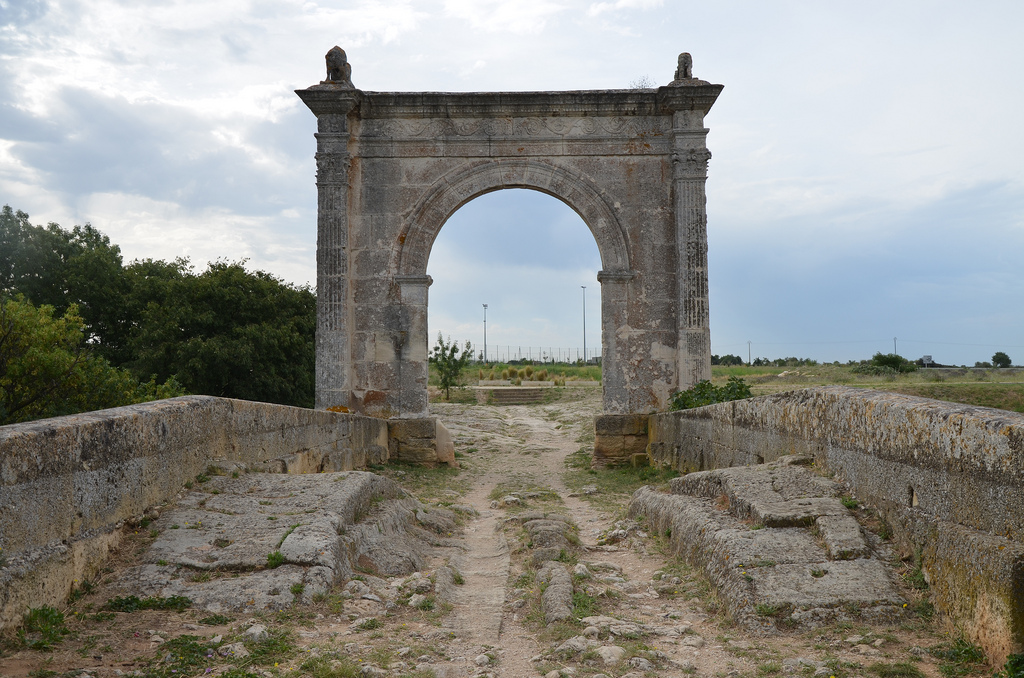 The Pont Flavien was located on a Roman road - the Via Julia Augusta - running between Piacenza (Italy) and Arelate (Arles, France).