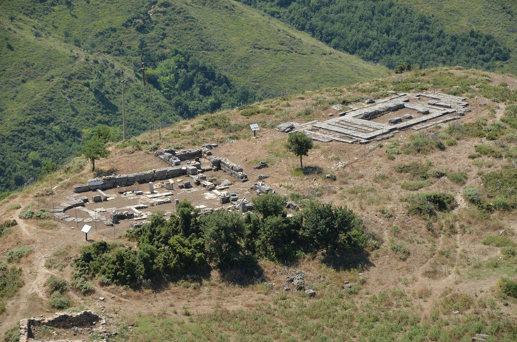 View of the Paloeochristian Basilica and the Temple of Aphrodite built in the 3rd century BC, Amantia, Albania