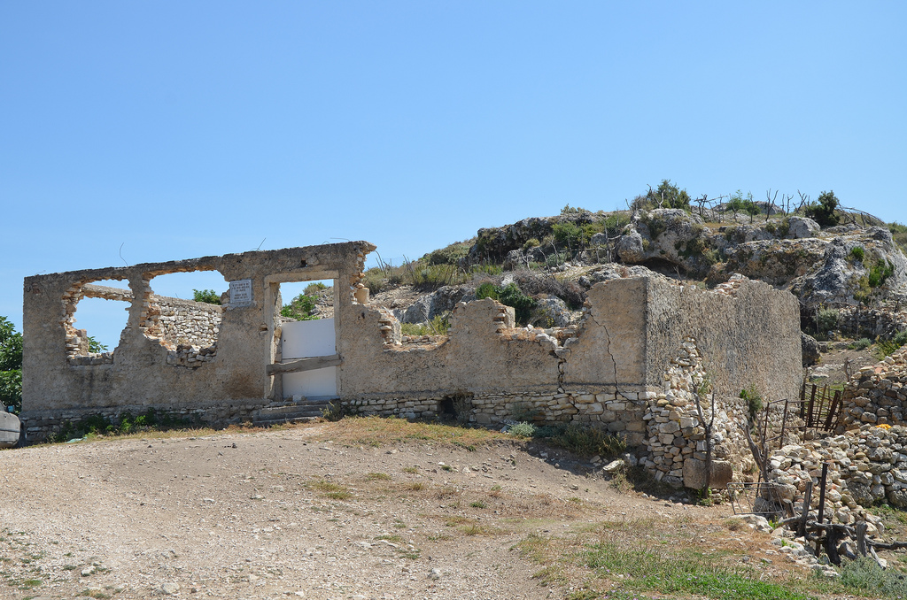 The ruins of the abandoned Archaeological Museum of Amantia.