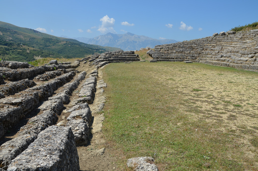 The stadium of Amantia had 17 rows on one side and 8 on the other.