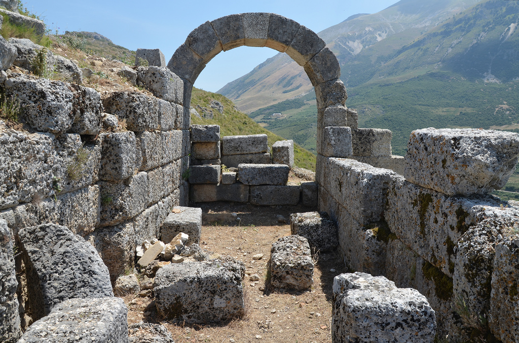 One of the city gates of Amantia with archway belonging to the second phase of construction of the city.