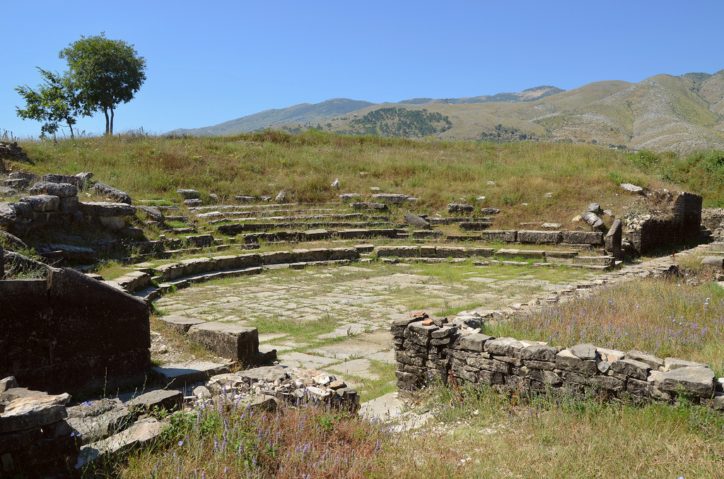 The stage of the Hadrianic theatre, it constisted of a low rostrum (pulpitum) behind which rose the stage wall (scenae frons).
