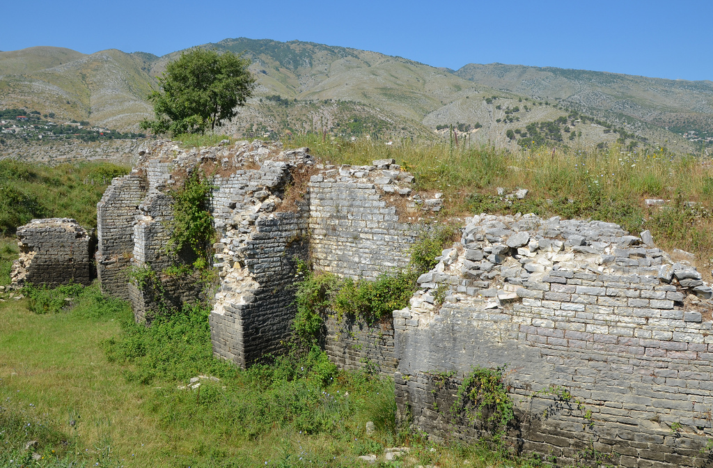 The supporting wall of the Roman theatre built during the reign of Hadrian.