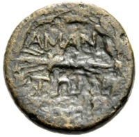 Bronze coin of Amantia, 3rd century BC.