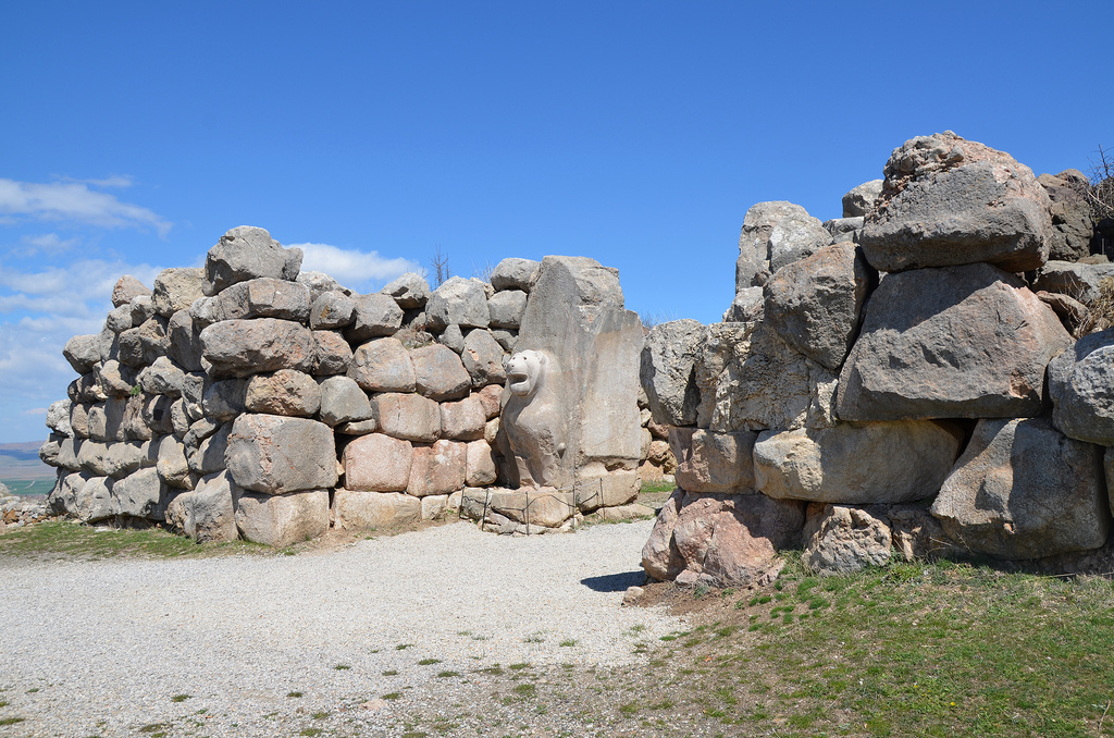 The Lion Gate was built in polygonal masonry employing massive limestone blocks.