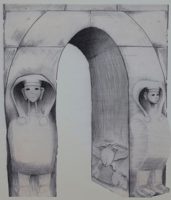 Reconstruction drawing of the Sphinx Gate of Alacahöyük.