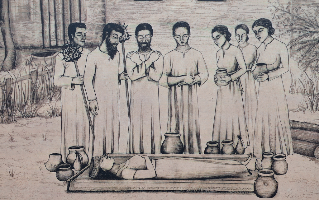 Reconstruction drawing of a Hattian funeral ceremony.