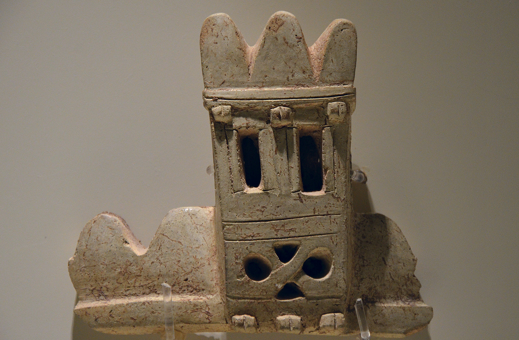 Terracotta tower-shaped vessel fragment used as cult vessel, tower-shaped vessels reflect the model Hittite city walls, found during excavations in Hattua, 14th century BC, Museum of Anatolian Civilizations, Ankara