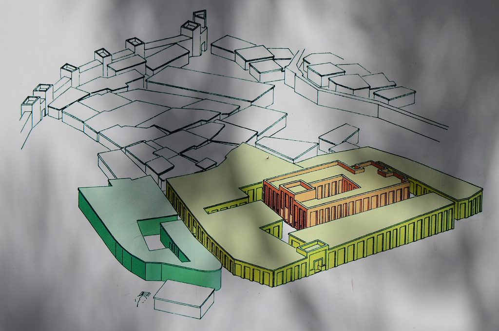 "Reconstructive drawing of the Great Temple surrounded by approximately 200 storerooms. Red: the temple proper Yellow: the storage rooms Green: the southern district with the""House of Operations"""