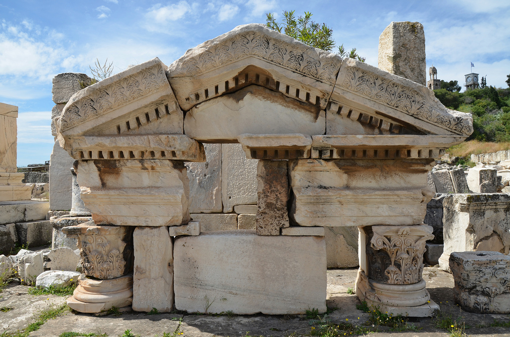 The remains of the Eastern Triumphal Arch built by Antoninus Pius outside the Sanctuary of Demeter and Kore.