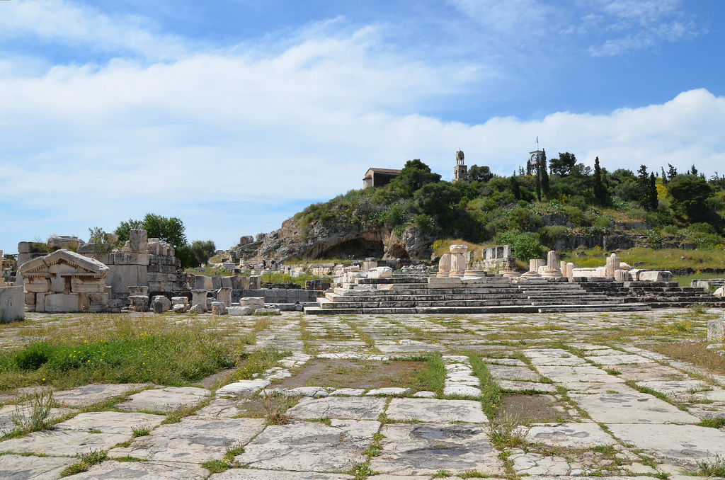 The entrance square to the sanctuary, the steps lead up to the Greater Propylaia.