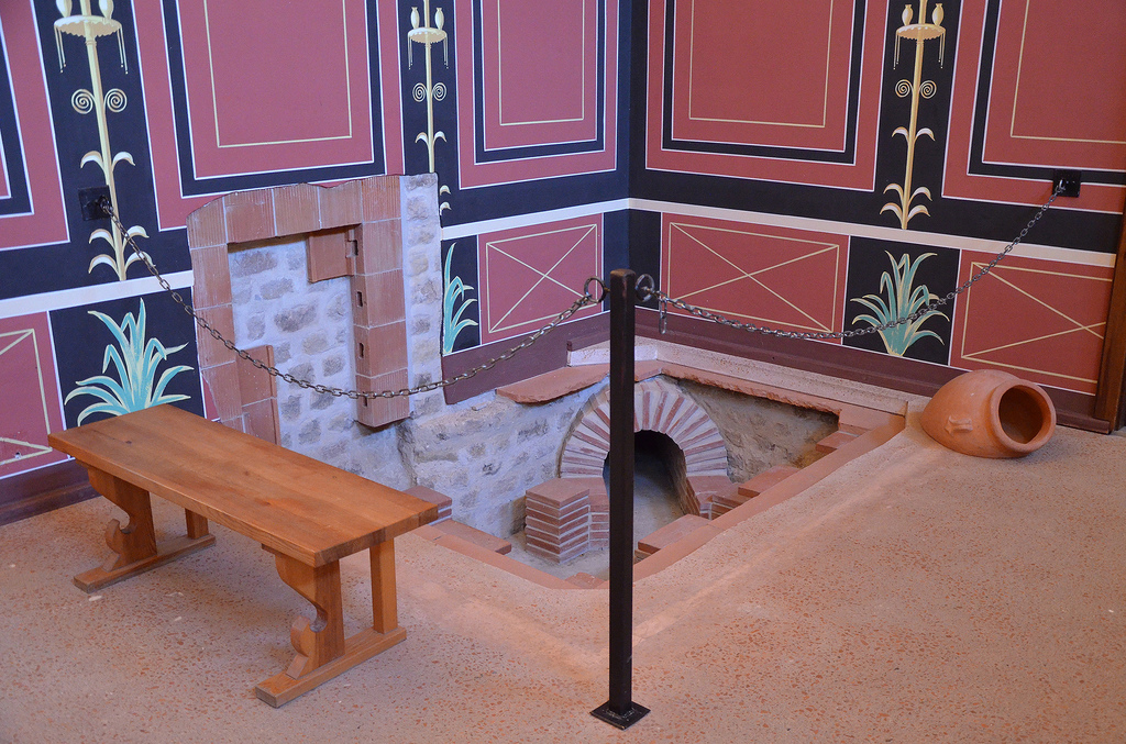 The reconstructed hypocaust in the resting room next to the baths.