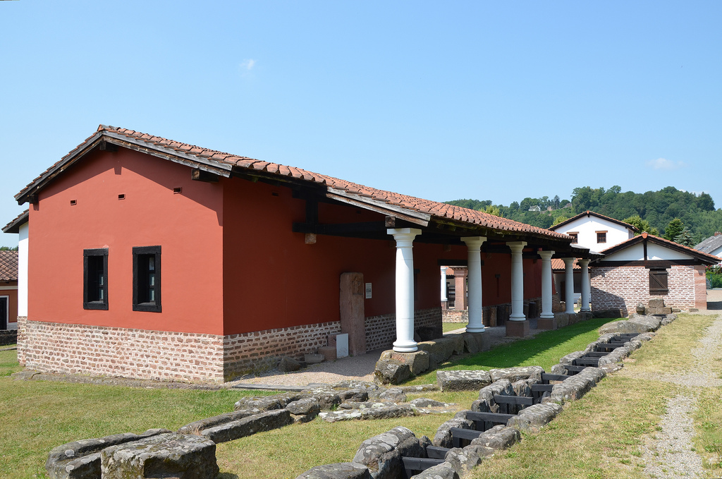 The reconstructed House of the Ophthalmologist along the east-west main street of the vicus.