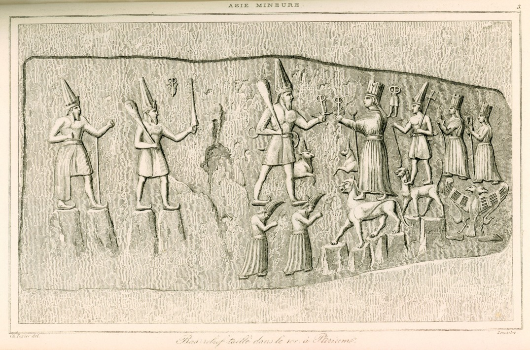 Engraving from a relief at Yazilikaya by French archaeologist Charles Texier (1882).