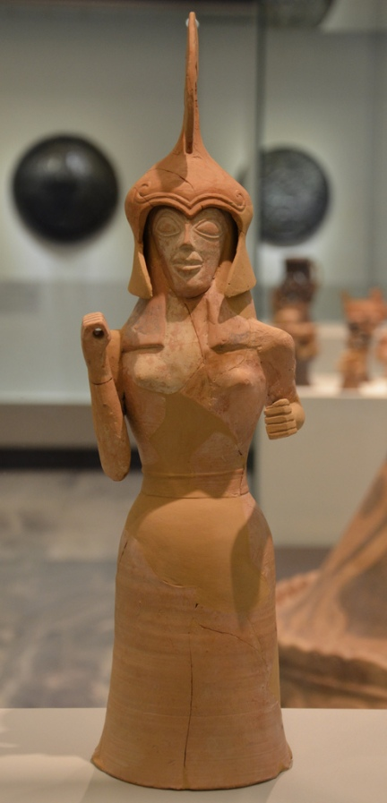 Clay figurine of the goddess Athena, she wears a helmet made separately she would have hold a spear and a shield, the body is wheel-made and the face is molded, about 660-650 BC.