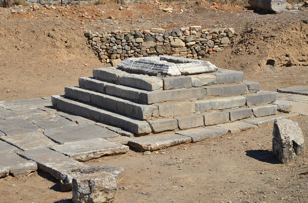 The stepped altar of the Temple of Apollo Pythios which stood before the pronaos and was built during the Roman period.