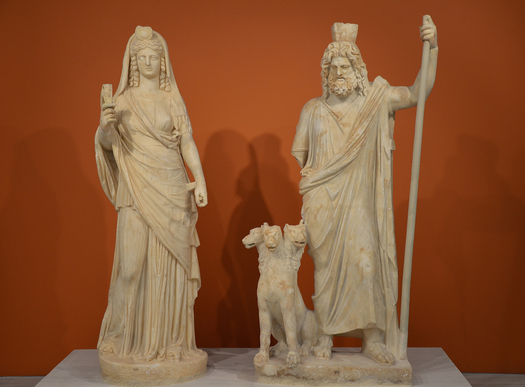 Statue group of Persephone (as Isis) and Pluto (as Serapis), from the Sanctuary of the Egyptian Gods at Gortyna, mid-2nd century AD.
