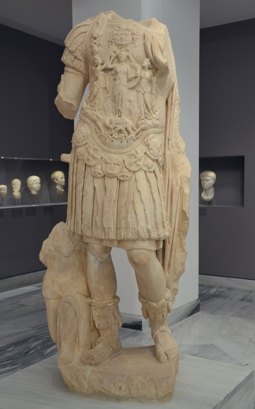 Headless statue of emperor Hadrian. He is shown as a triumphant army commander wearing the military cuirass.