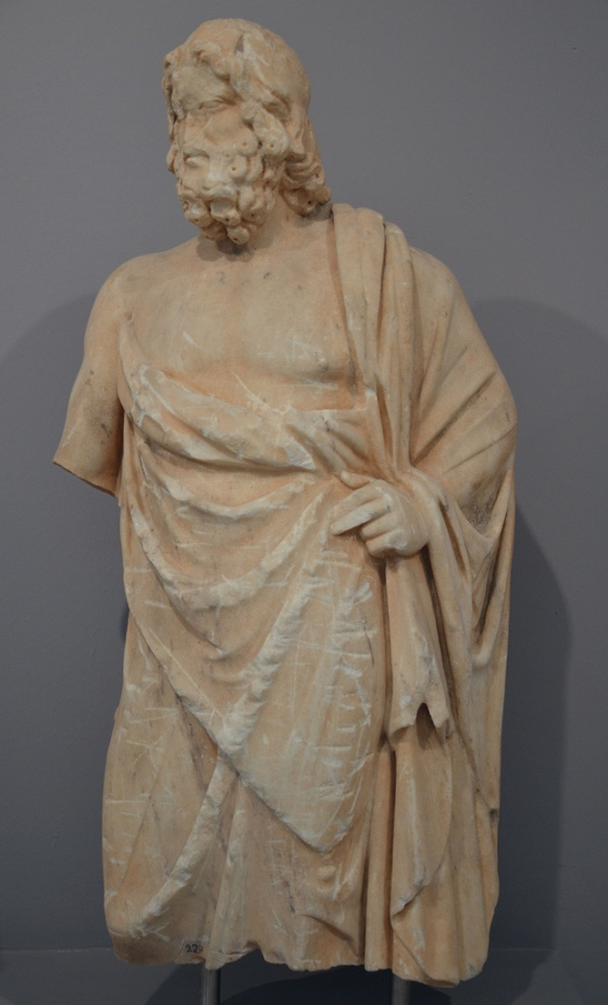 Small marble statue of Asclepius, god of medecine, early 2nd century AD.
