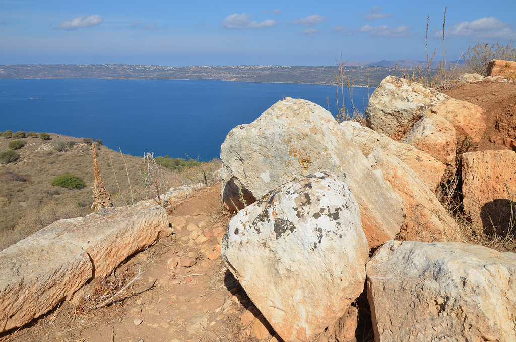View over Souda Bay from the ancient city of Aptera.