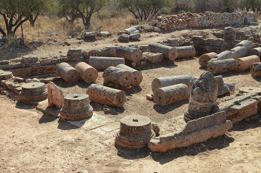 The ruins of the peristyle courtyard (5x7 columns) of a residence dating from the 1st century AD.