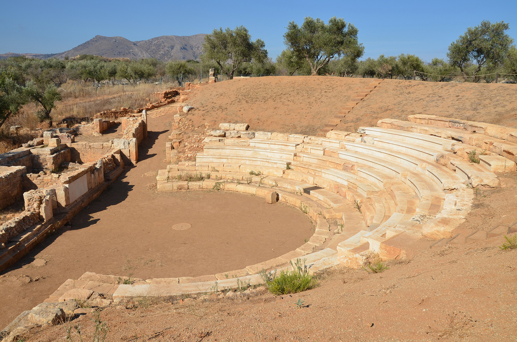 The theatre has the typical structure of Hellenistic theatres, consisting of the auditorium (koilon), the orchestra and the scenic building. It was made of the local limestone, like most monuments of the ancient city.