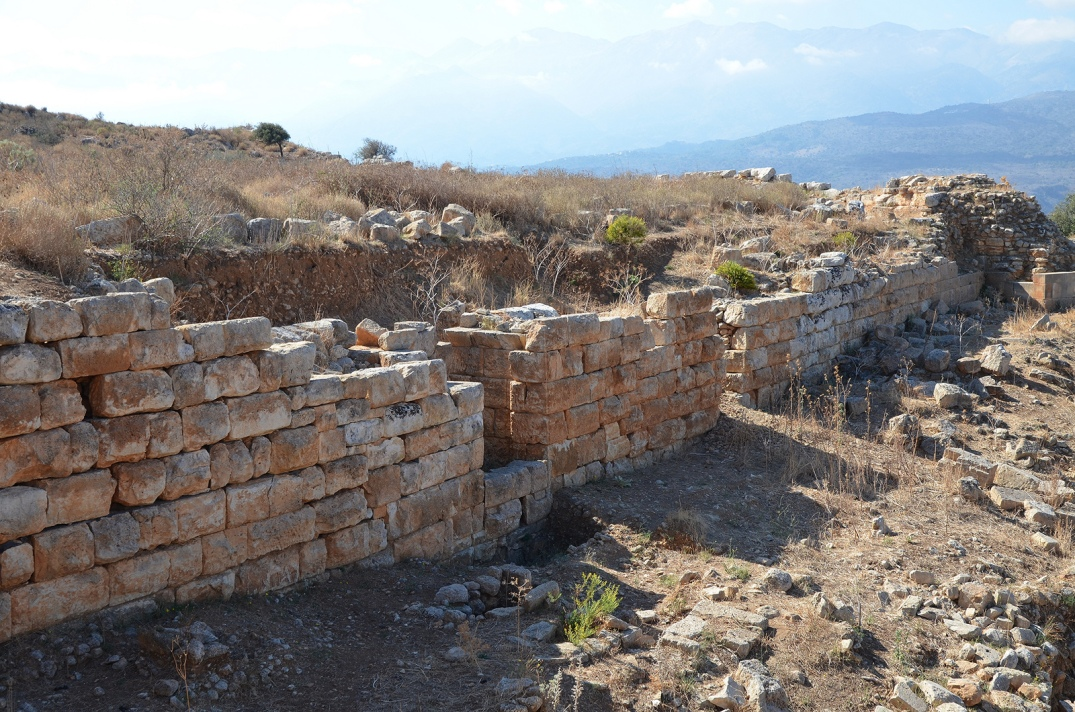The remains of the massive fortification wall made of large polygonal stones, it was built in the mid-4th century BC with a total circumference of 3.5km.