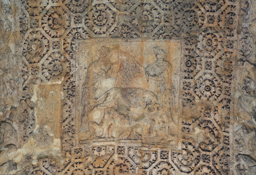 Ceiling of the middle arch of the Porte Mars depicting Remus and Romulus in the presence of the shepherd Faustulus and his wife Acca Laurenti.