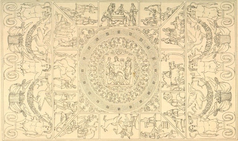 Drawing (circa 1850): restitution of the motifs of the central vault. At the center perhaps Bacchus; Around: calendar of months and seasons (BM Reims).