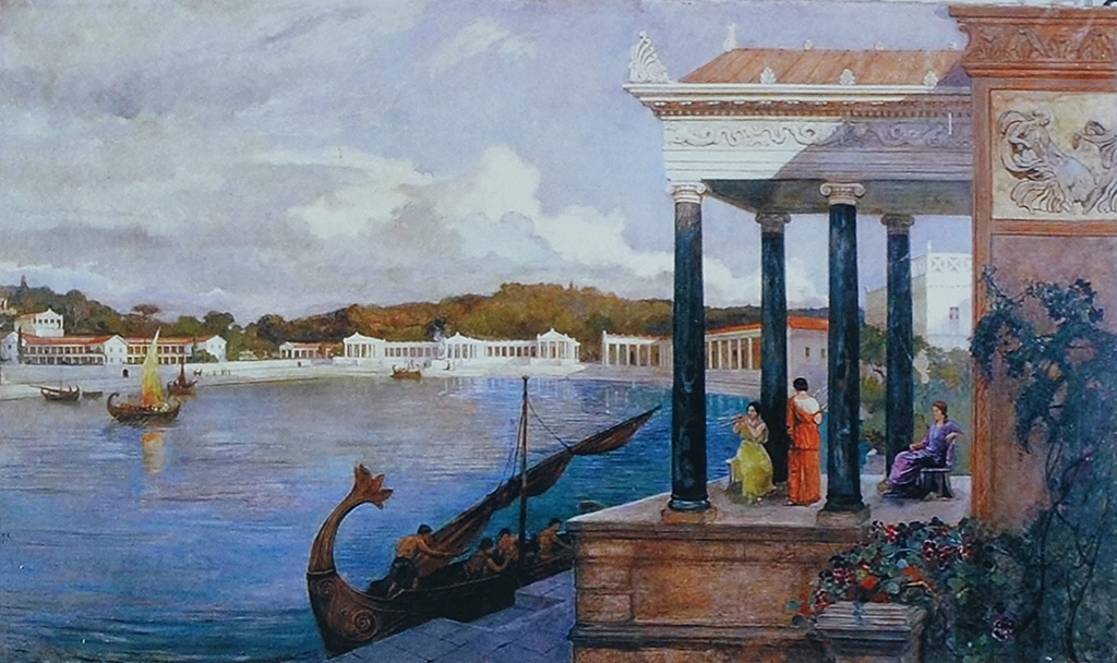 1924 artistic reconstruction of the Roman Villa in the Bay of Verige.