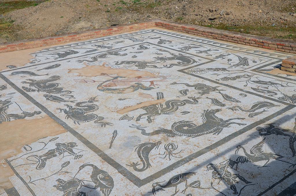 The Neptune Mosaic in the House of Neptune. Neptune, the god of the sea with his trident. The mosaic is surrounded by a wide edge that is decorated with Nilotic scenes where one can see crocodiles, a hippopotamus, a palm tree, and several pygmies fighting ibises.