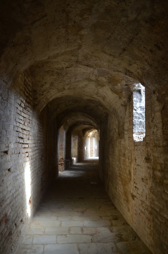 The wellpreserved corridors of the amphitheatre.