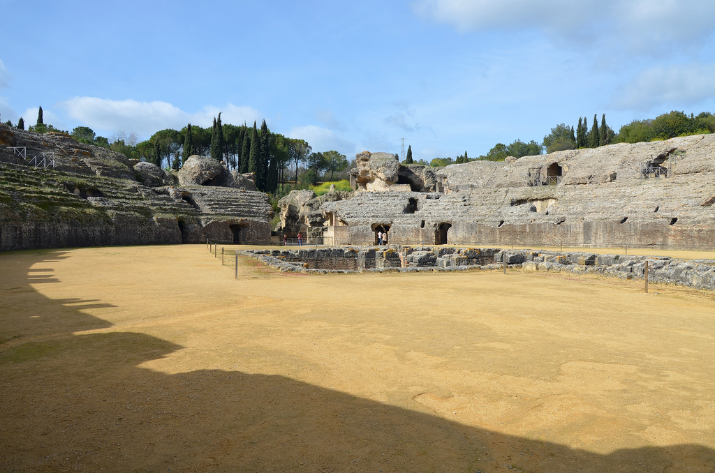 The amphitheater was one of the largest in the Empire, 160 by 197 m. It was built of large blocks of hewn stone and brick faced with marble and could accommodate some 25,000 spectators.