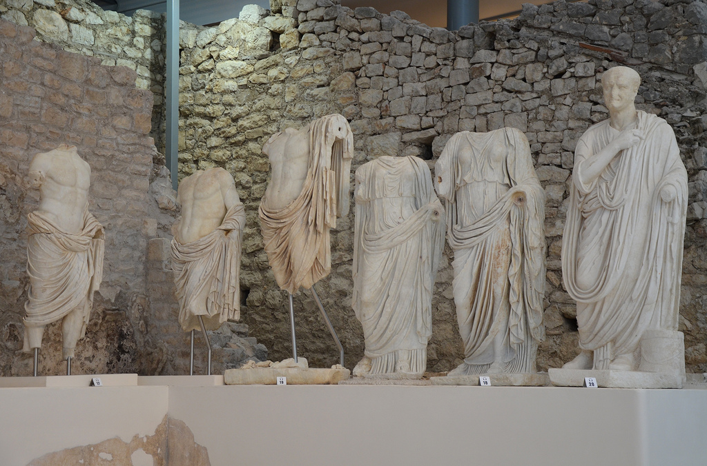 From left to right: Germanicus, Drusus, Claudius, Agrippina the Elder, Agrippina the Younger, Vespasian.