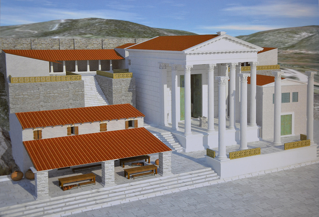 Reconstruction drawing of the Augusteum.