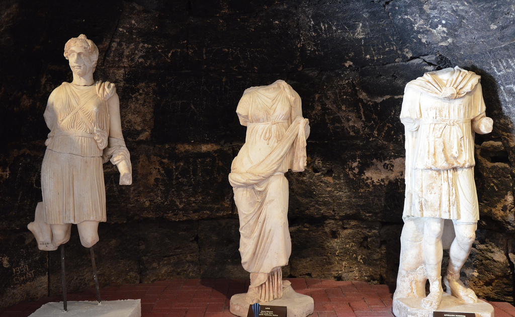 Statues of Artemis, Leto and Apollo, from the Roman theatre, end of 2nd century AD.