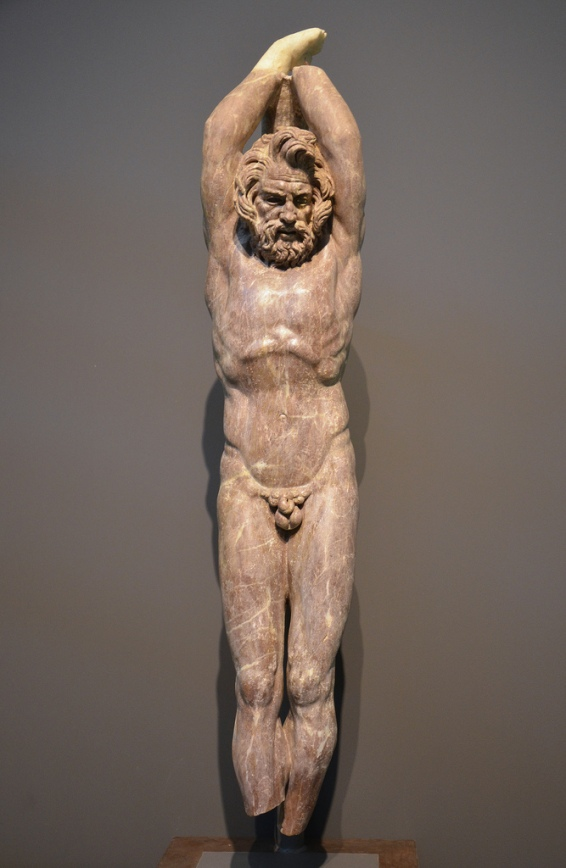 2nd c. AD statue in red marble of Marsyas, a satyr who dared challenge Apollo to a music contest , found at the Villa Vignacce in southeastern Rome during 2009 excavations carried by the American Institute for Roman Culture.