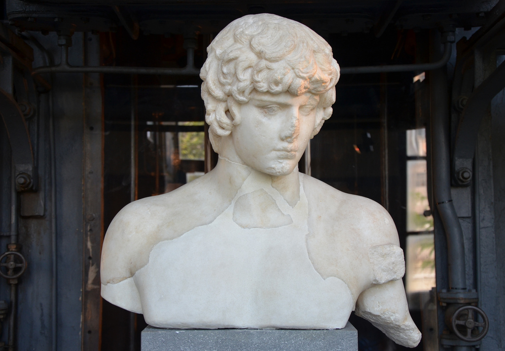 Part of a statue of Antinous depicted as Apollo, 130-138 AD, from the Via dei Fori Imperiali.
